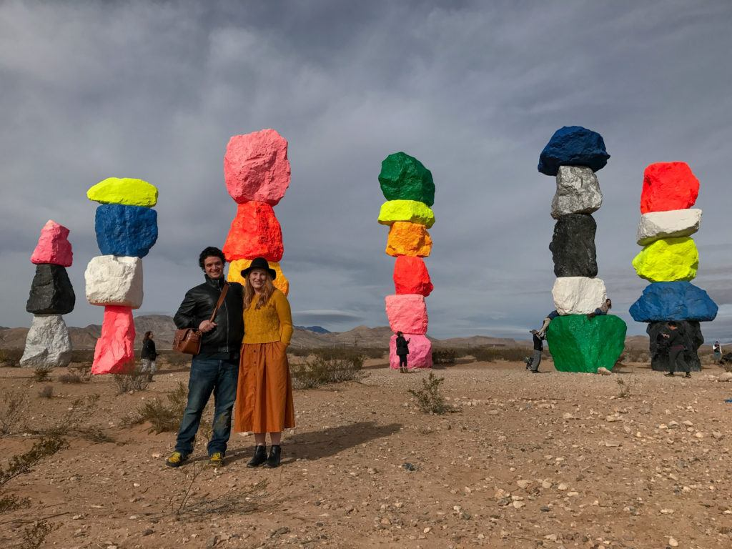 Colorful towers in desert in nevada