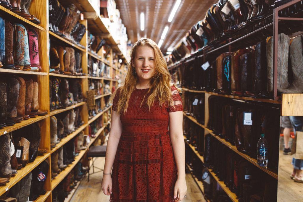 Allen's Boots in Austin, red self portrait dress
