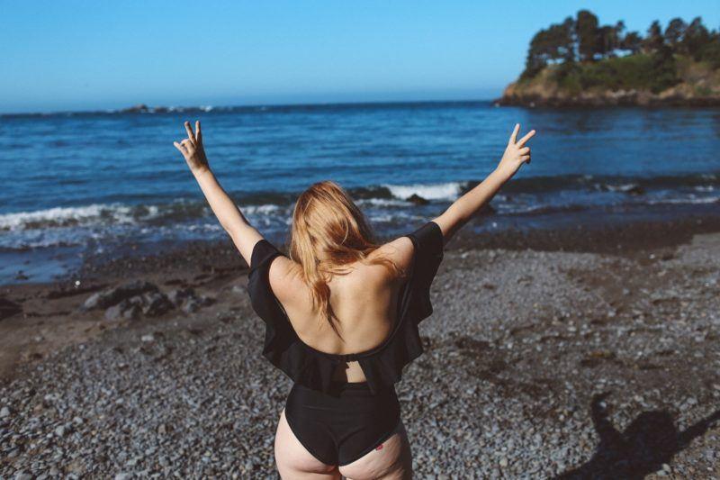 black ruffle swimsuit