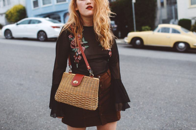 rose bell sleeve top, wicker purse