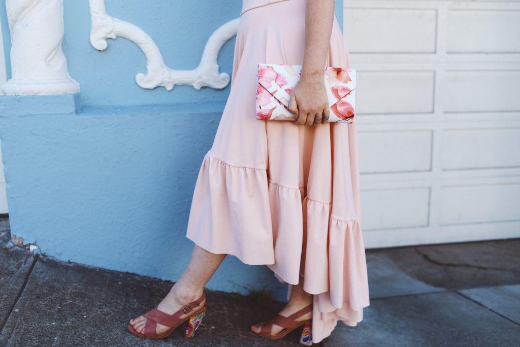 Pink Boohoo maxi ruffle dress