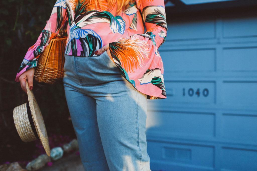 ASOS fringe jeans, bell sleeve top, lombard street