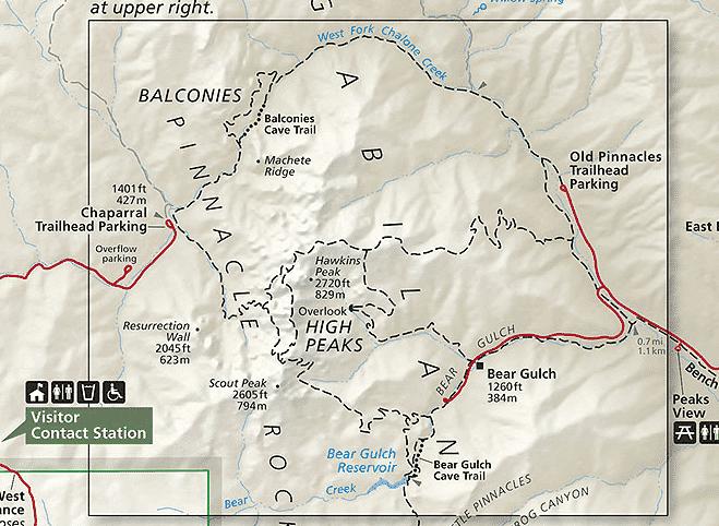 pinnacles national park map