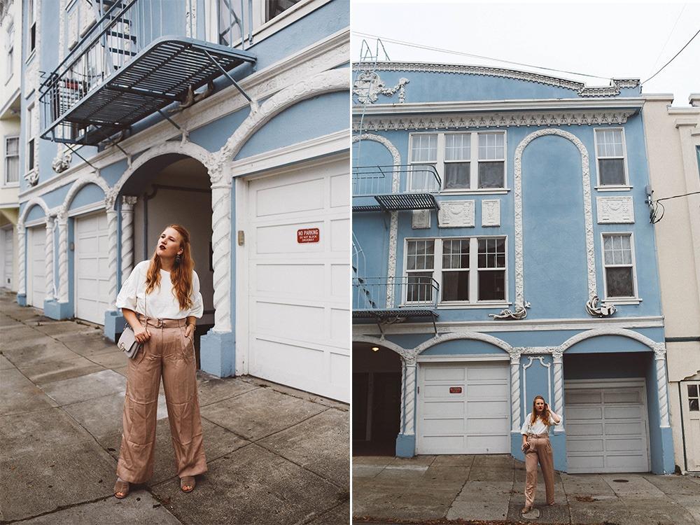 blush wide leg pants grey purse white bell sleeve blouse