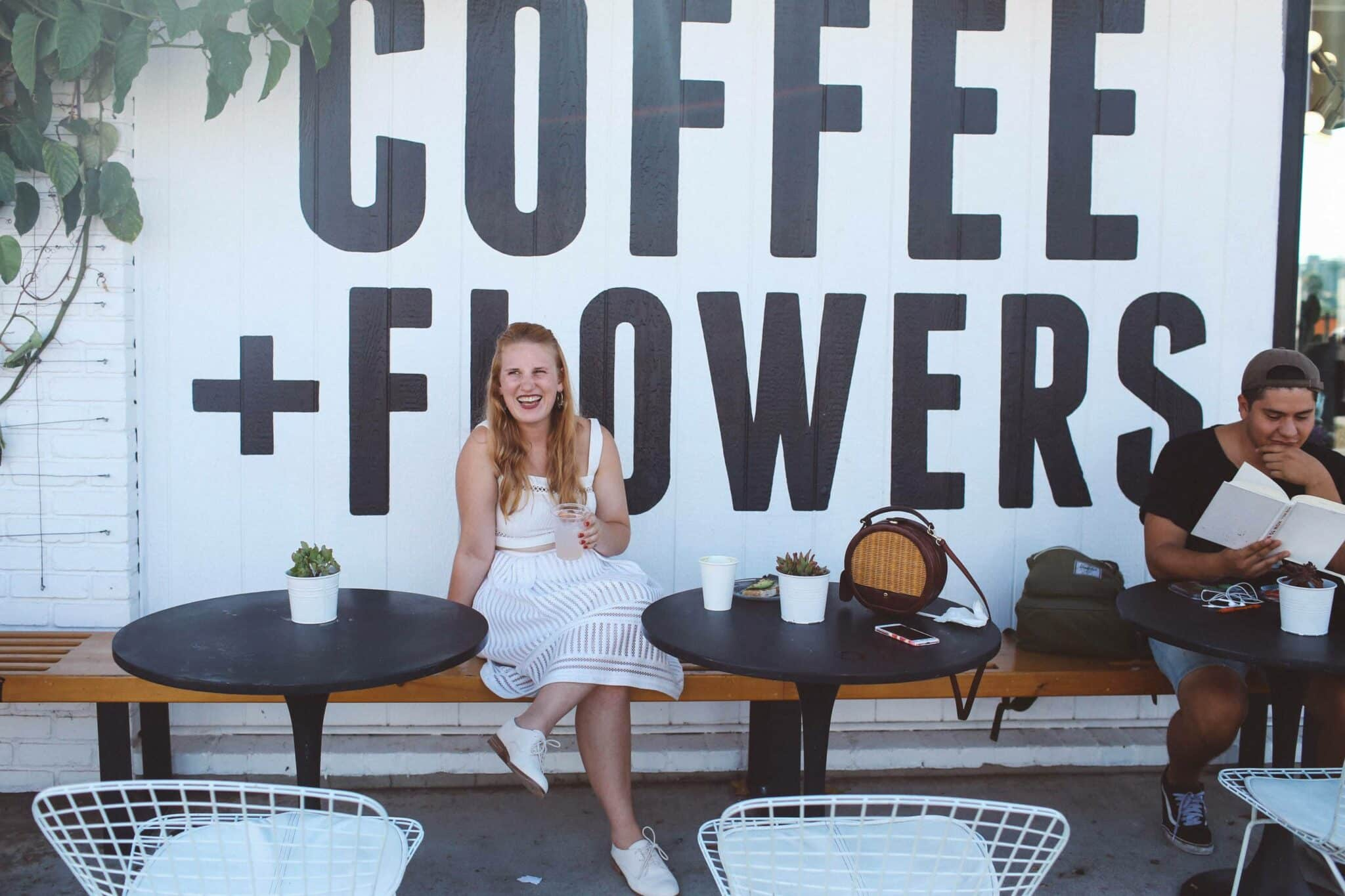 coffee flowers mural white dress