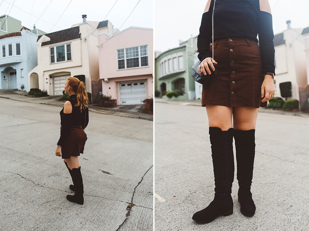 black over the knee boots button up skirt san francisco