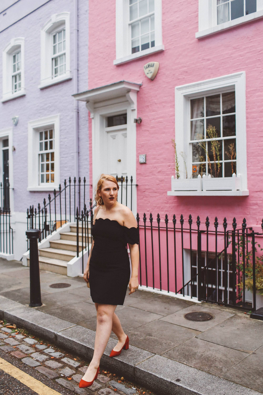 black scallop dress chelsea london