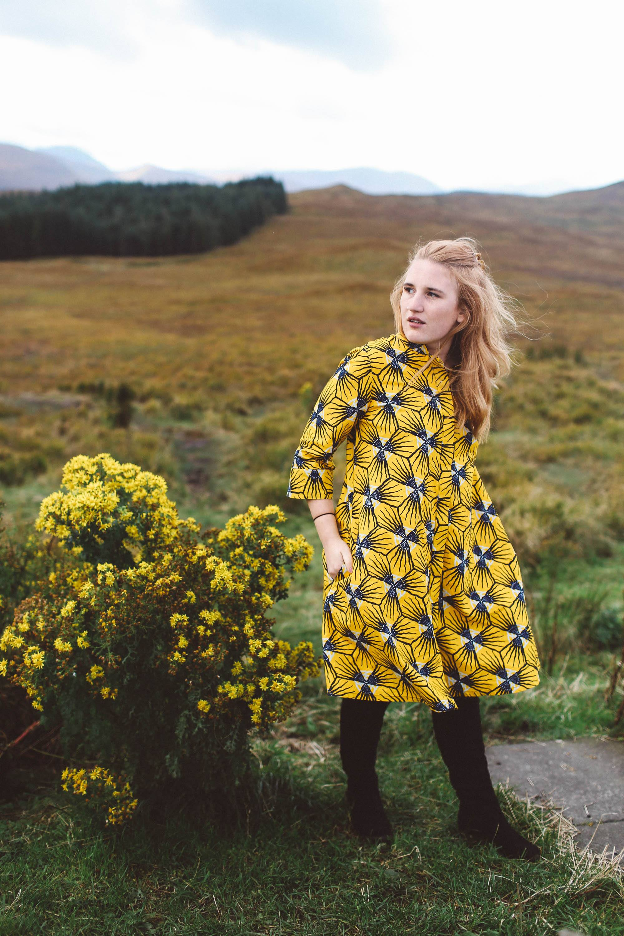 isle of skye scotland woman yellow dress