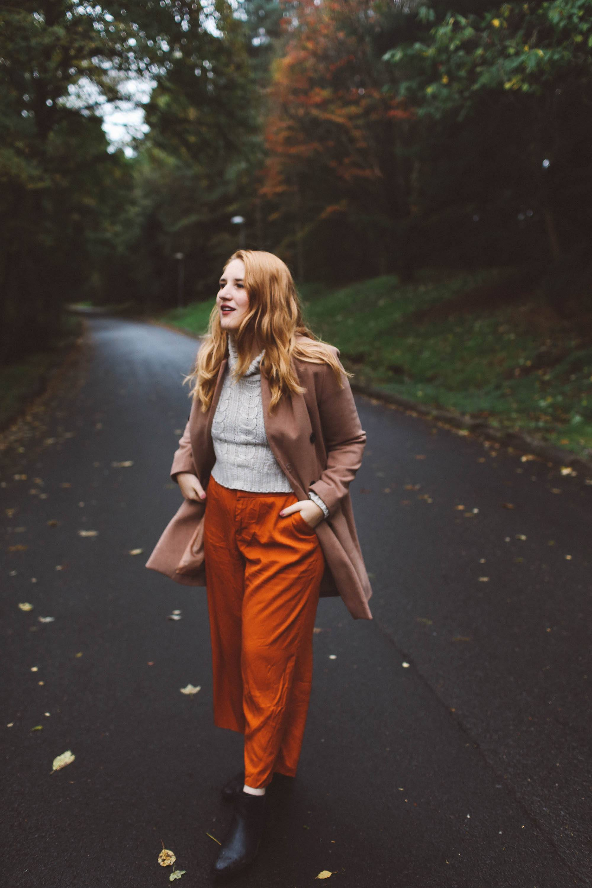 woman camel coat orange pants scotland outfit