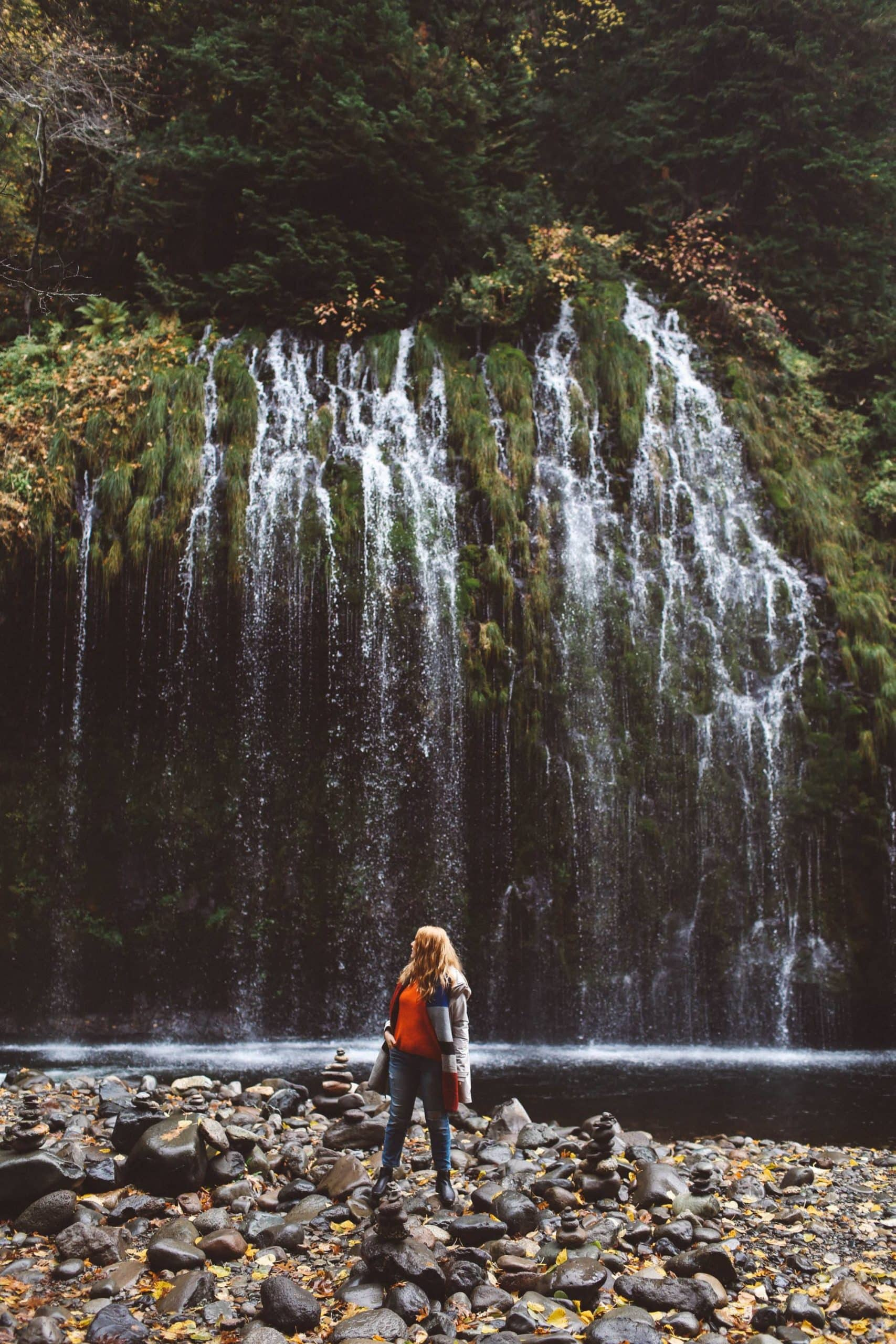 Mossbrae Falls Redding Waterfall woman