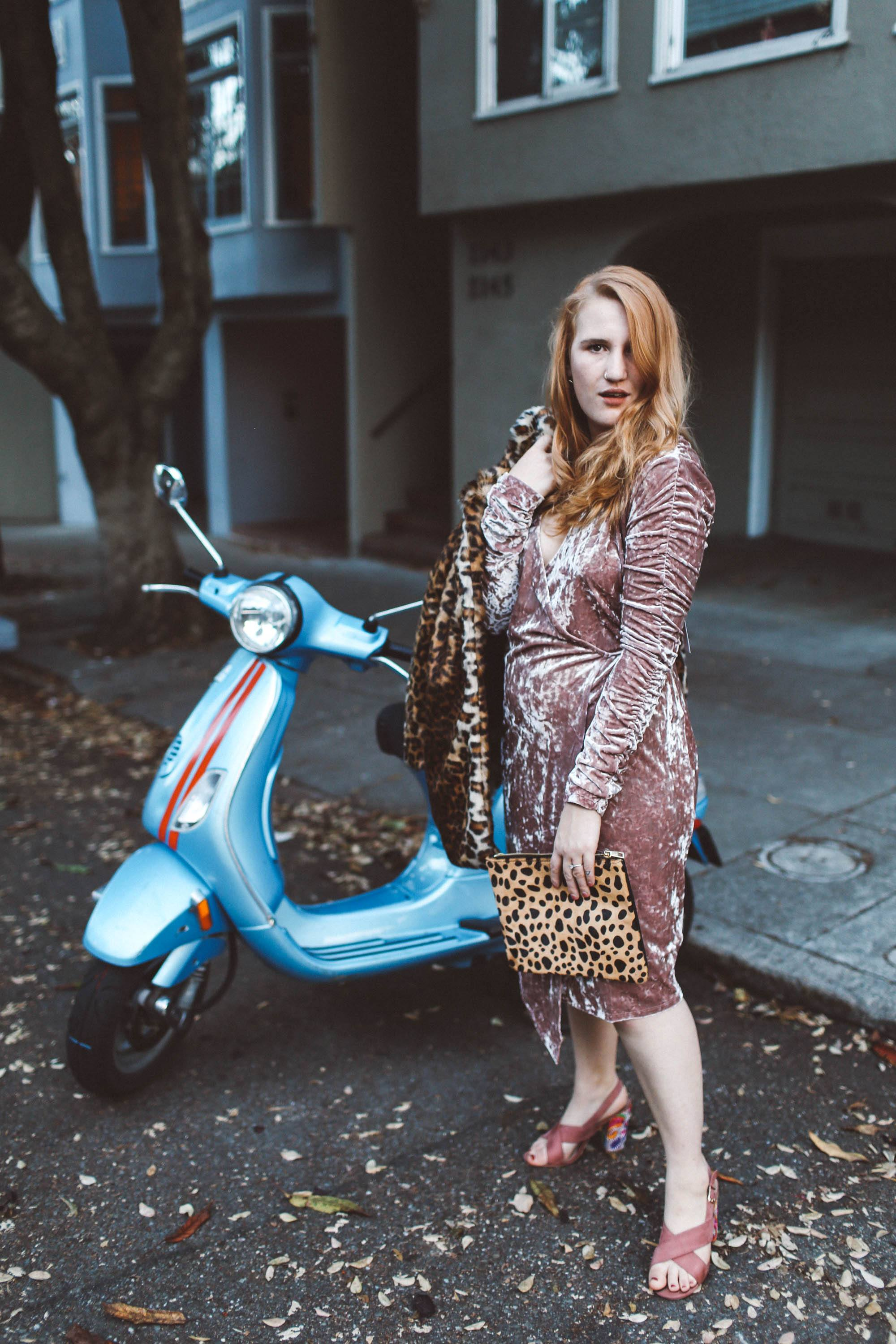 pink velvet dress leopard coat moped