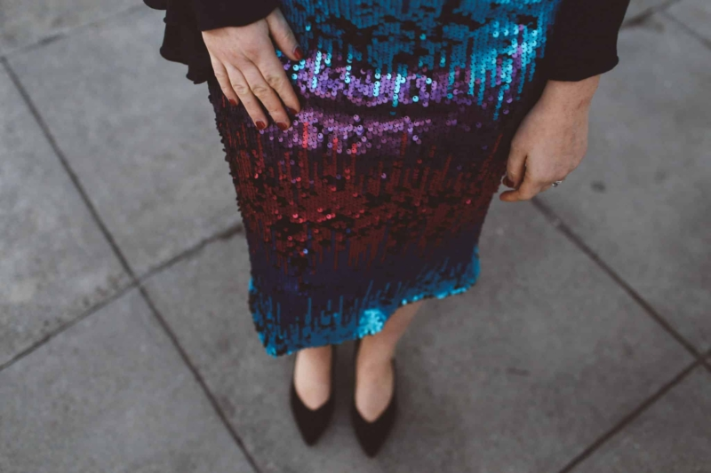 ombre sequin skirt