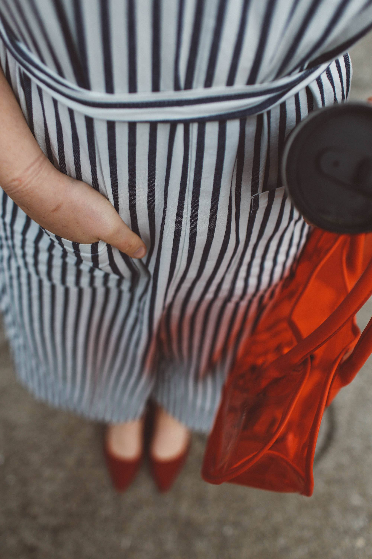 heart purse striped jumpsuit