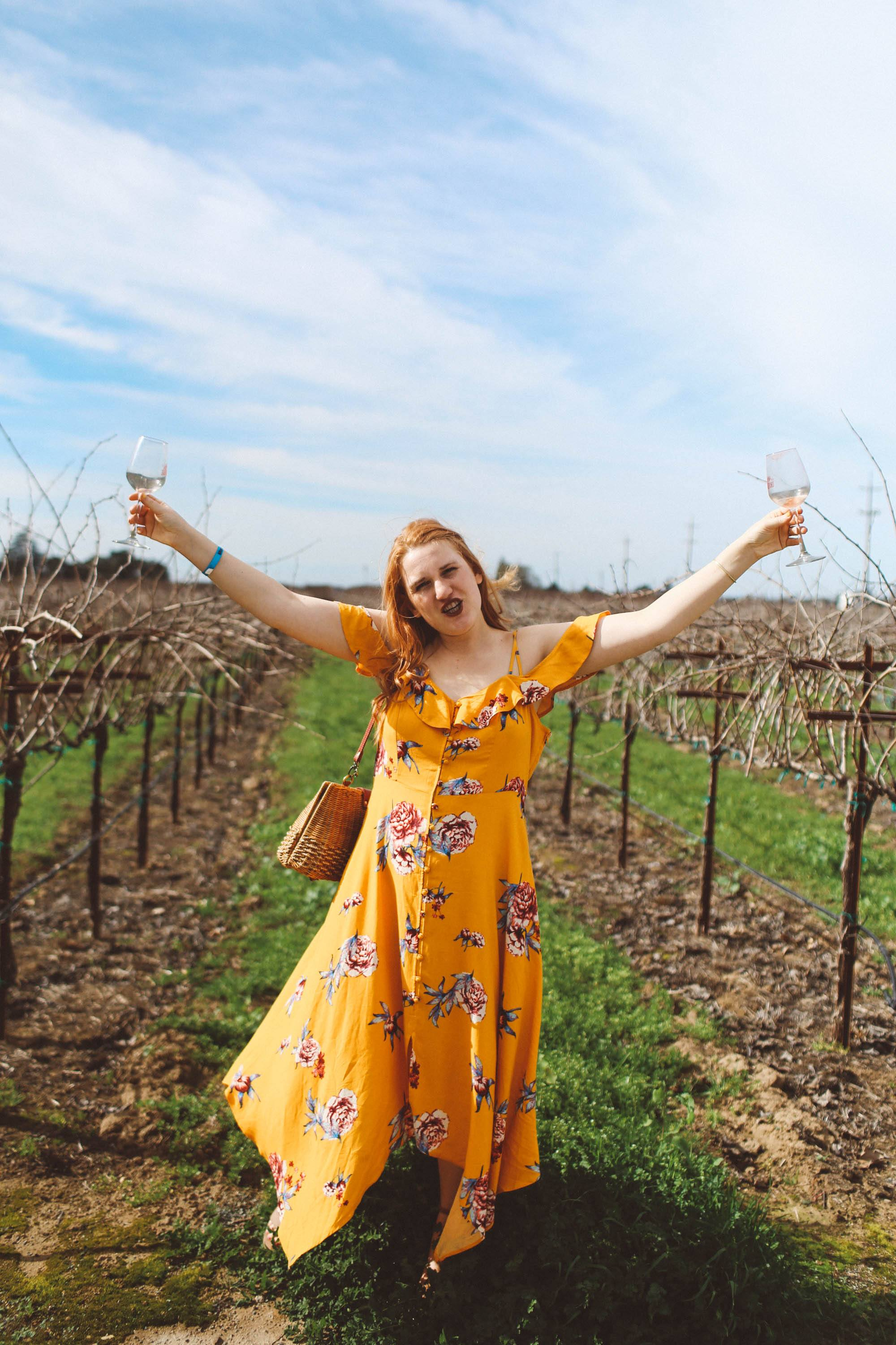 lodi california wine tasting yellow dress