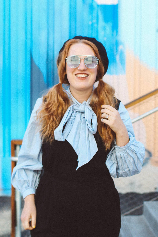 blue bow top blue sunglasses jumpsuit