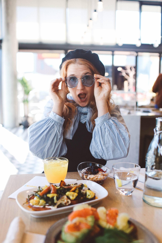 blue bow top blue sunglasses san francisco brunch