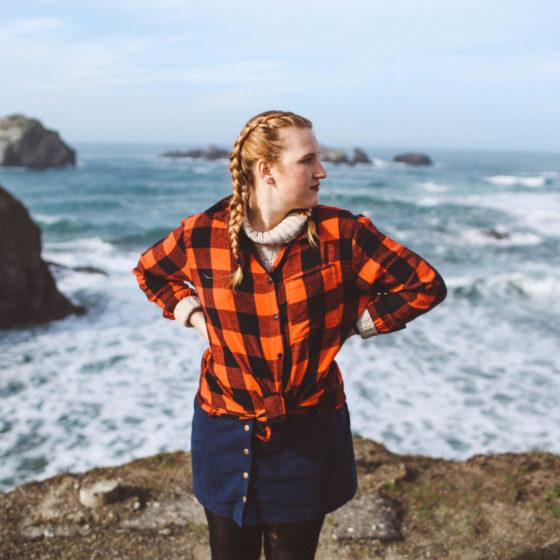 ocean plaid shirt woman