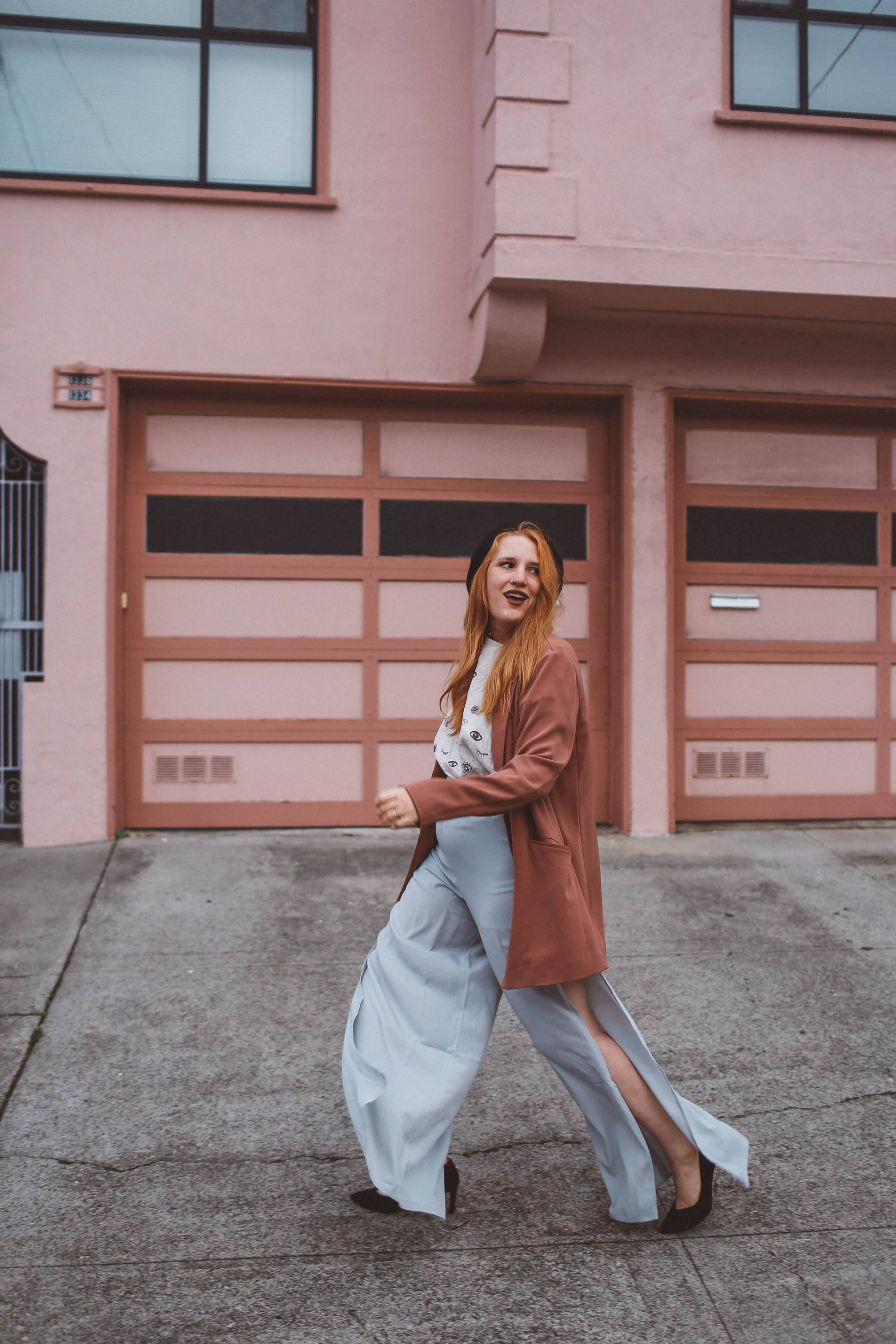 Wide Leg Pants With Side Slits