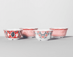 Melamine Bowls 24oz Pink/Red Set of 4