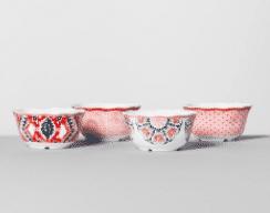 Melamine Bowls 24oz Pink/Red Set of 4