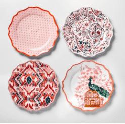 Melamine Dinner Plates 10.5″ Red/Pink Set of 4