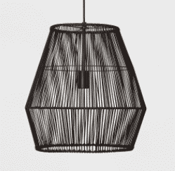 Diamond Rattan Ceiling Light Black