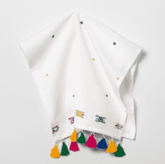 White Embroidered with Colored Tassels Kitchen Towel