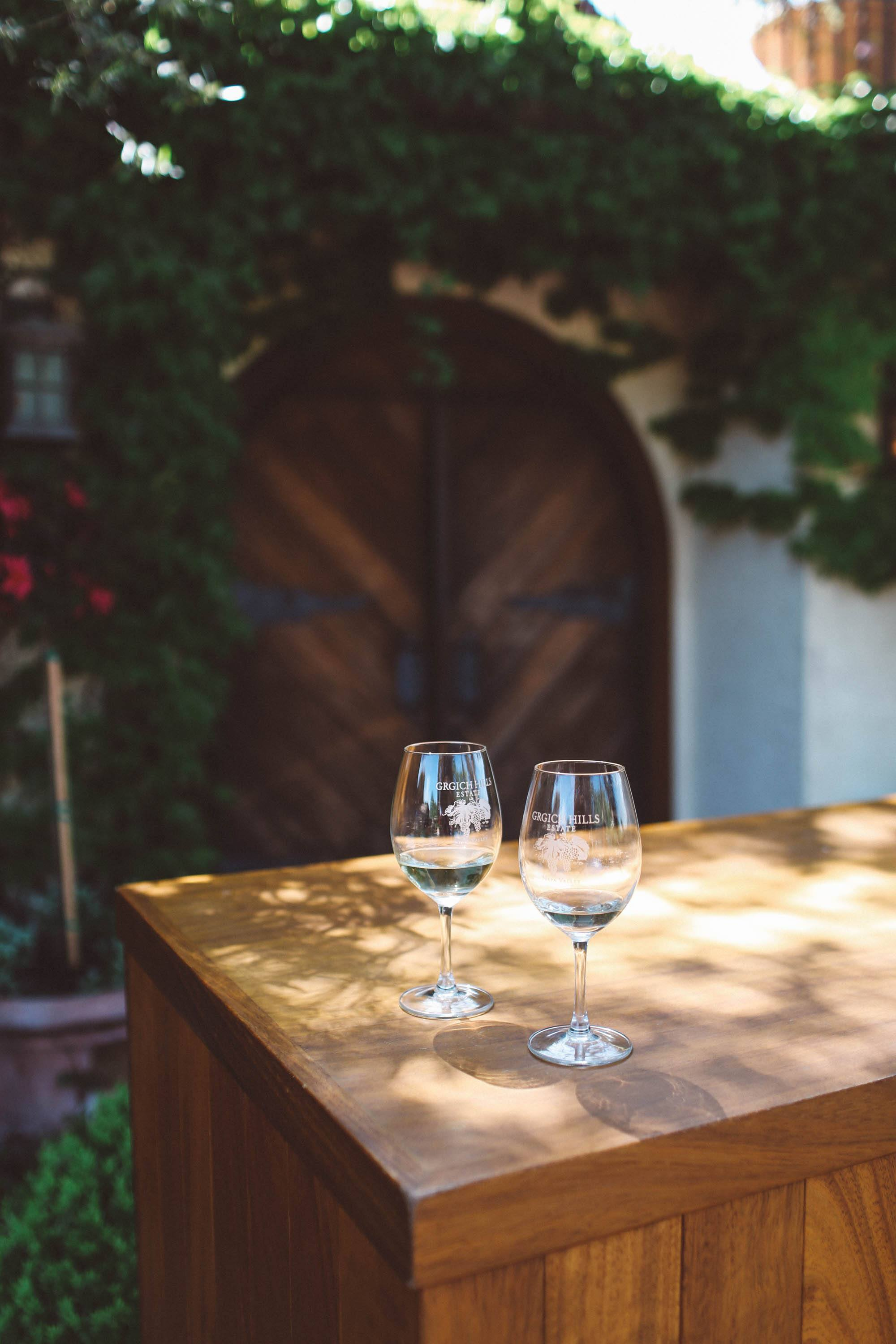 Wine glasses on a table at Grgich Hills Estate
