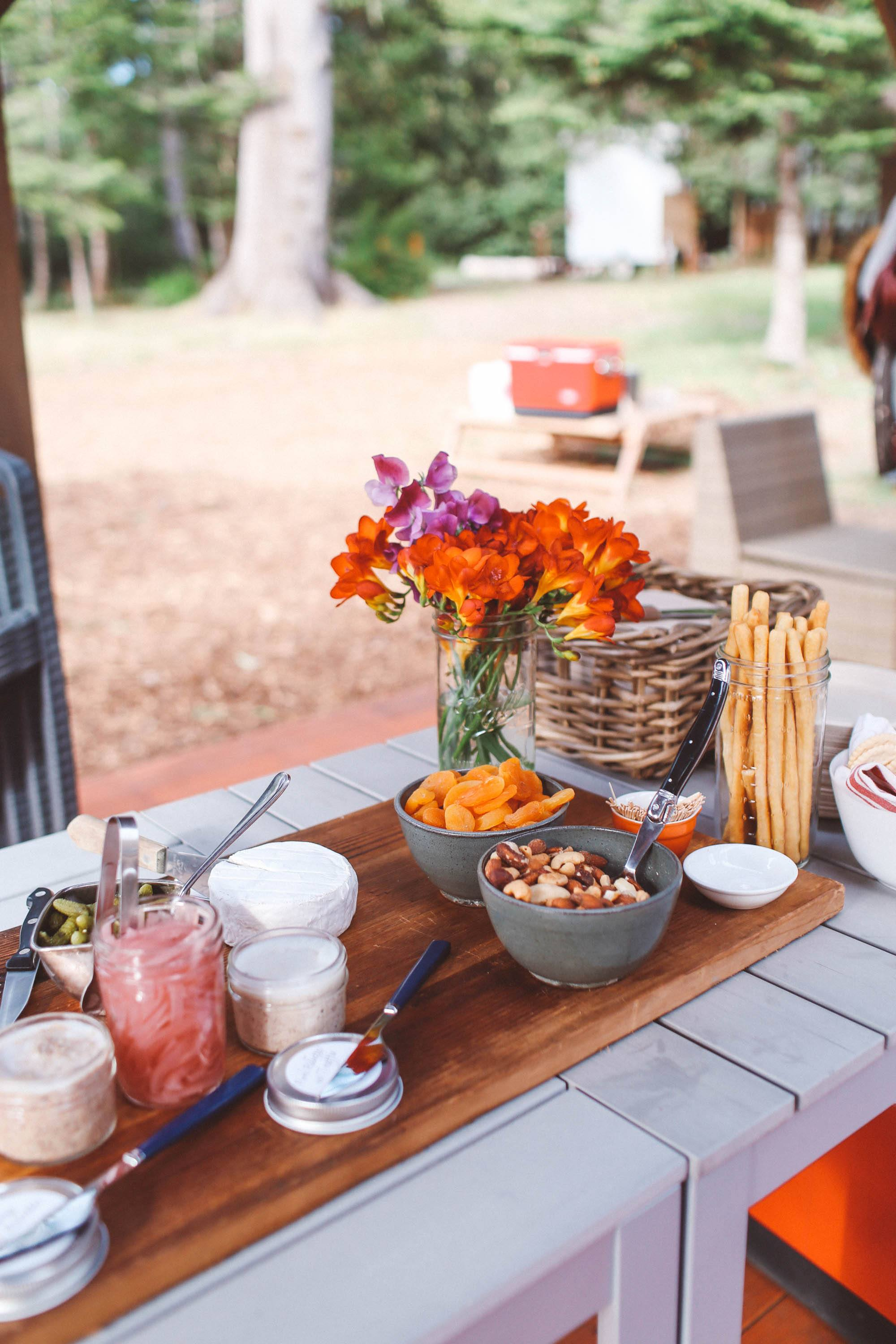Continental breakfast set up on a table
