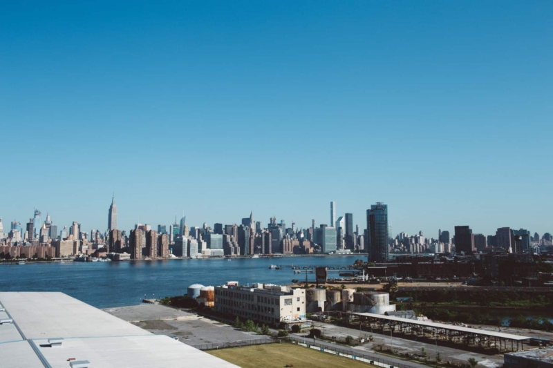 Wiew of Manhattan from a Brooklyn Rooftop.