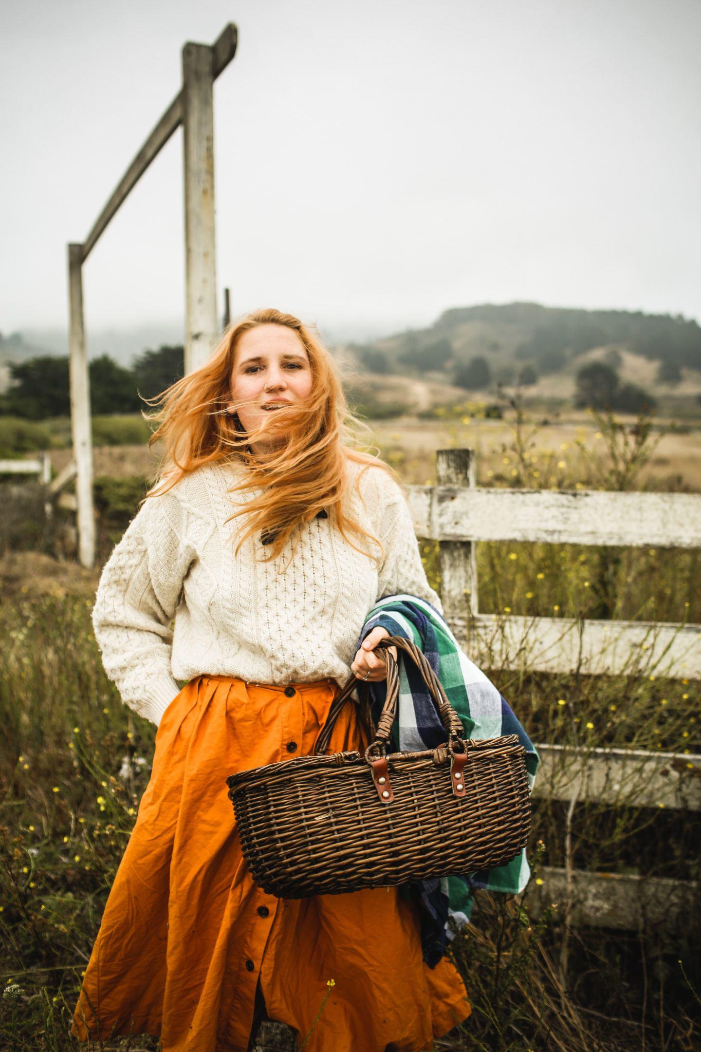 Woman holding a picnic basket