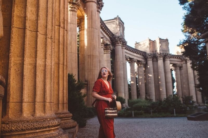Woman walking around the Palace Of Fine Arts