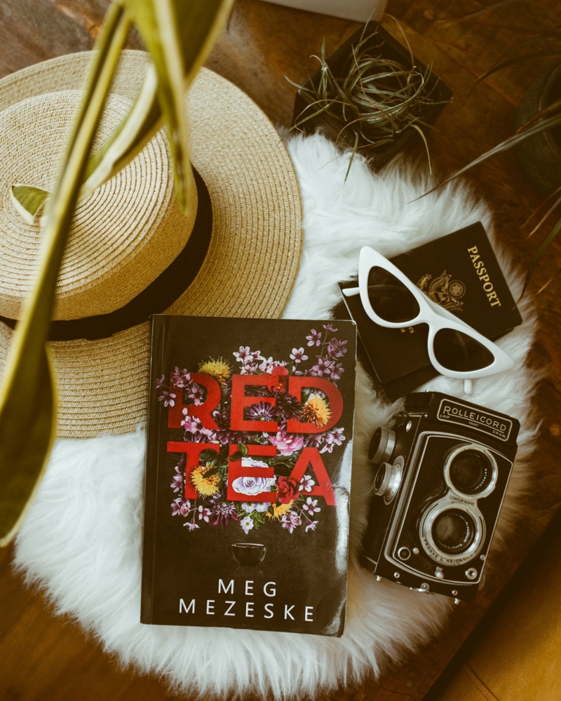a book, old fashioned camera, hat, passport