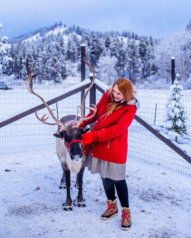 Woman at reindeer farm in Leavenworth