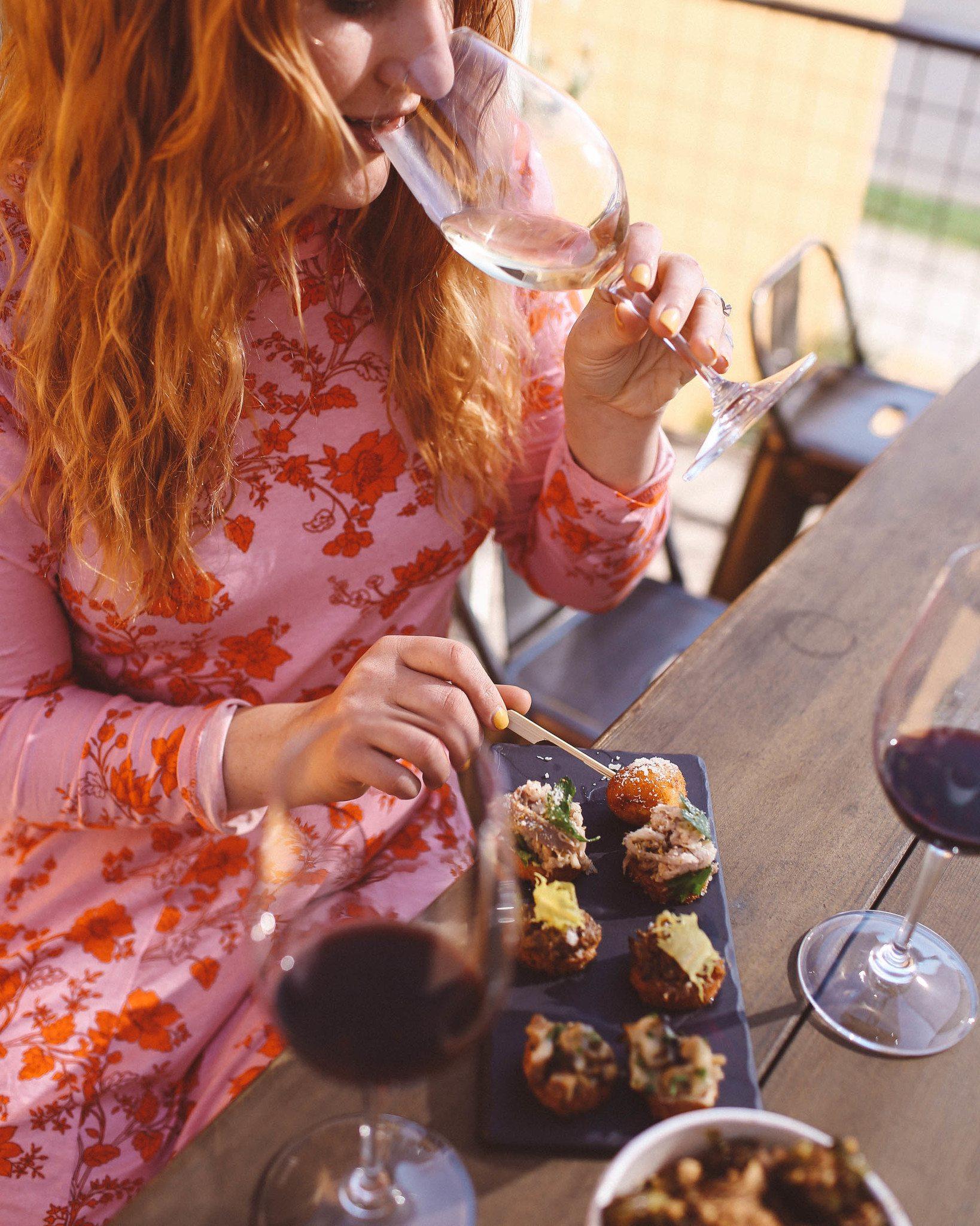 Woman eating at Napa Valley winery