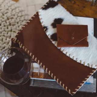 leather foldover handbag and card carrier