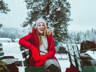 Woman on sleigh in Leavenworth