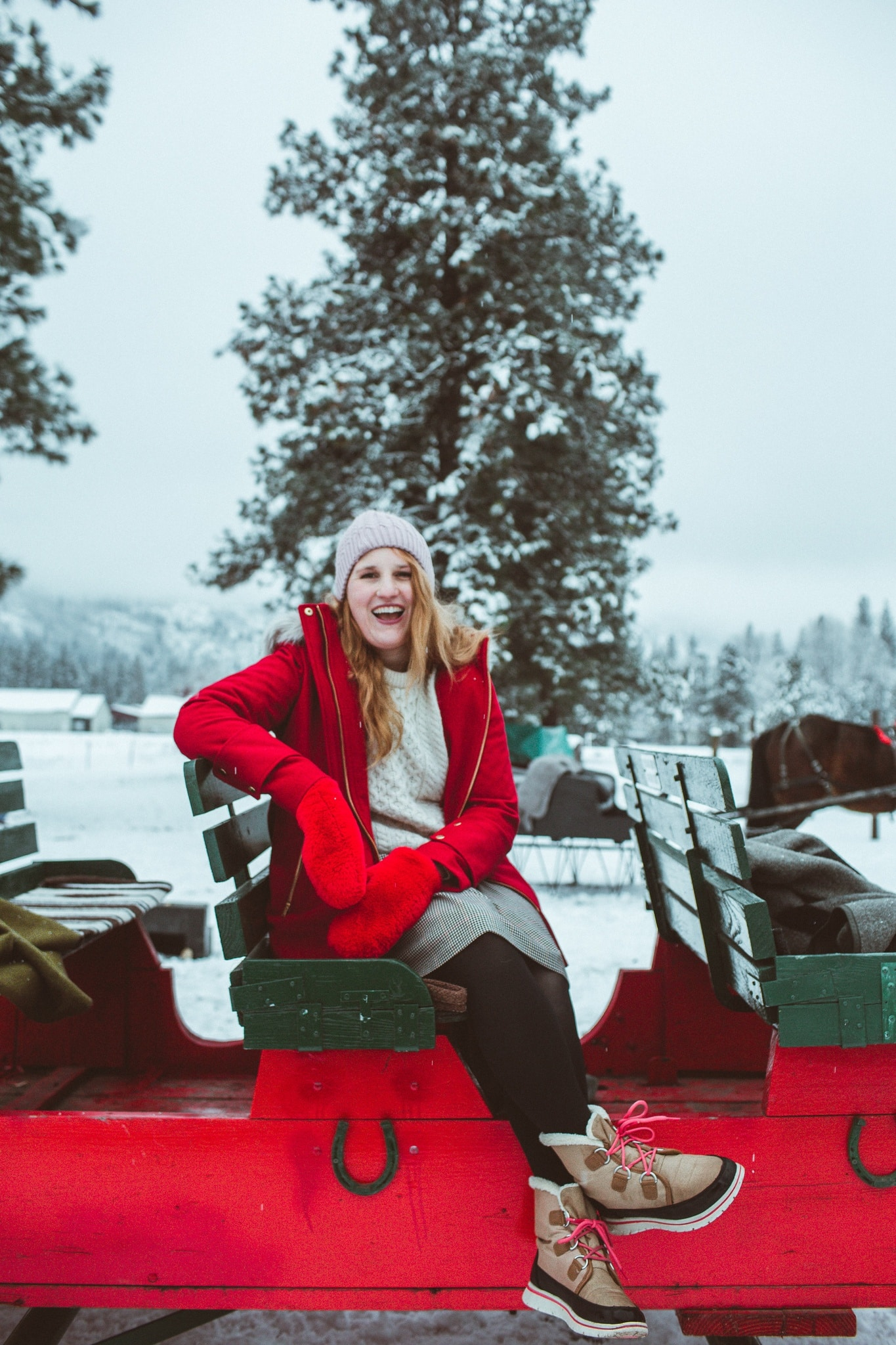 Woman on sleigh in Leavenworth