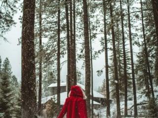 Woman at snowy Sleeping Lady Resort