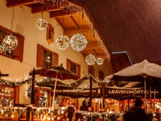 outside Icicle River Brewing in the winter