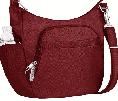 Maroon anti theft travel bag with water bottle holder
