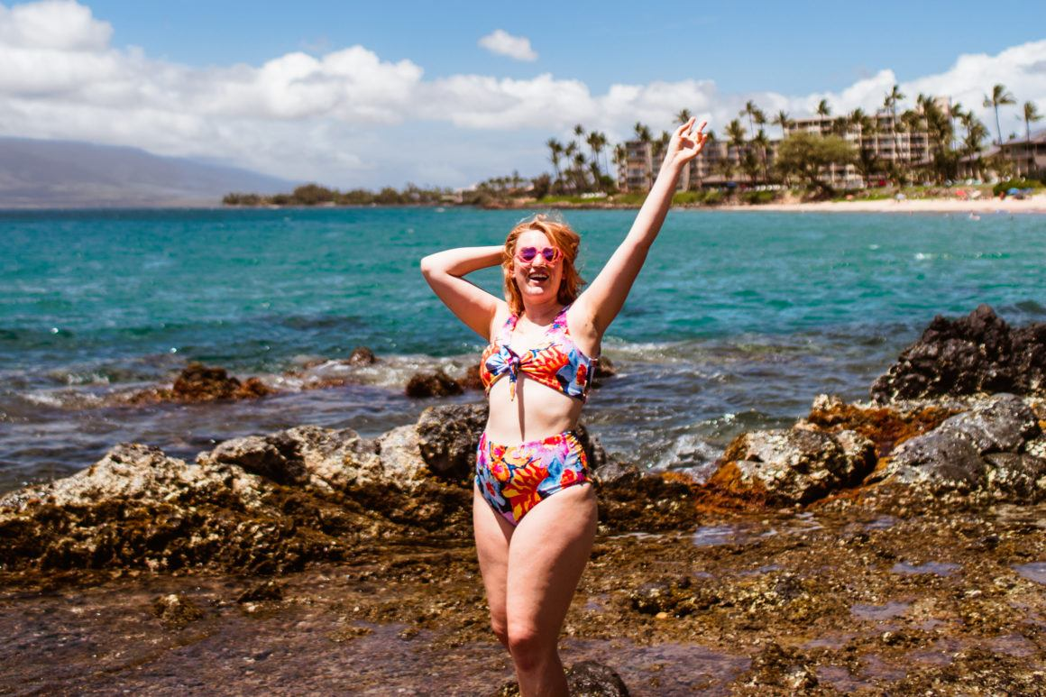 Vibrant floral bikini on the beaches of Maui