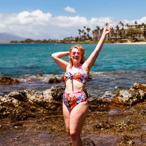 Vibrant floral bikini on the beaches of Maui