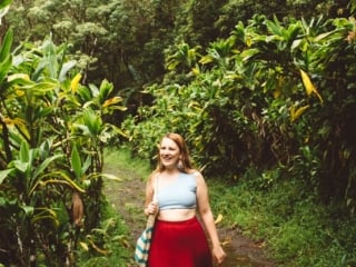 Two piece baby blue swimsuit paired with this great red skirt on the Road to Hana