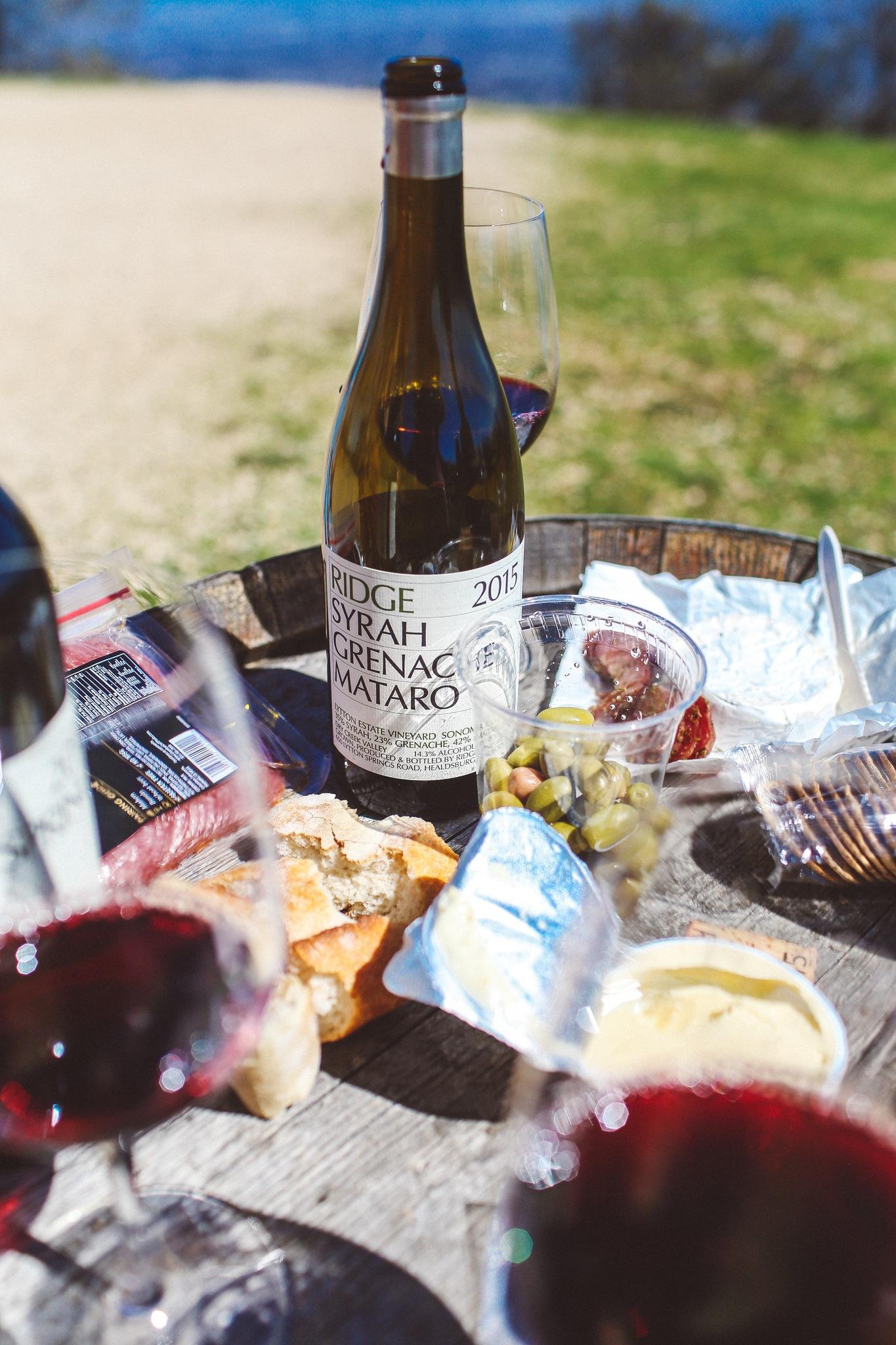 Wine and food at Ridge Winery in the Santa Cruz mountains