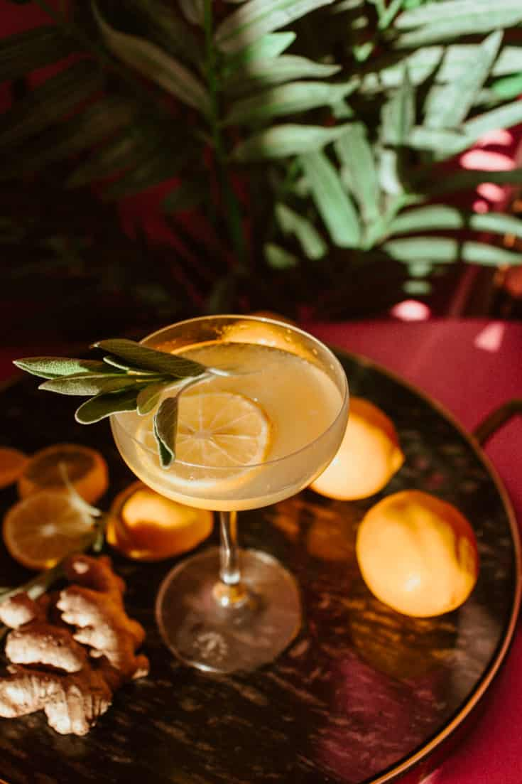 Easy Sage Ginger Limoncello Cocktail Recipe