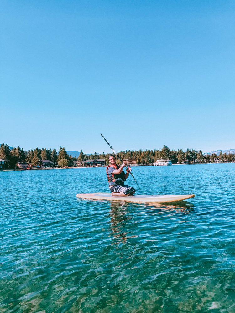 Paddle boarding on Lake Tahoe