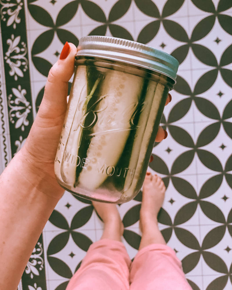 jar of homemade pickles