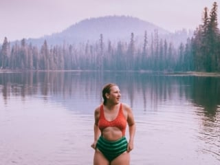 Kara in her Watermelon Swimsuit in Summit Lake in Lassen National Park