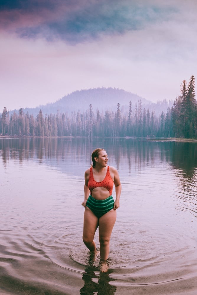 Kara in her Watermelon Swimsuit in Summit Lake in Lassen National Park